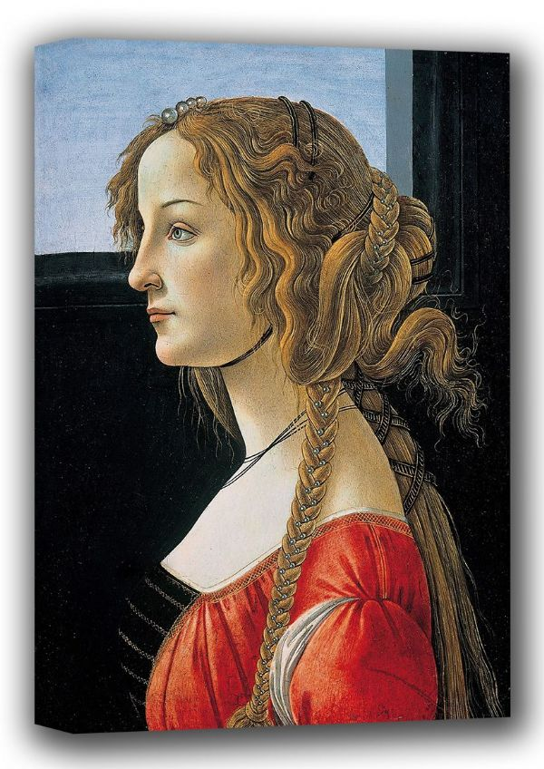 Botticelli, Sandro: Portrait of a Young Woman. Fine Art Canvas. Sizes: A4/A3/A2/A1 (001884)